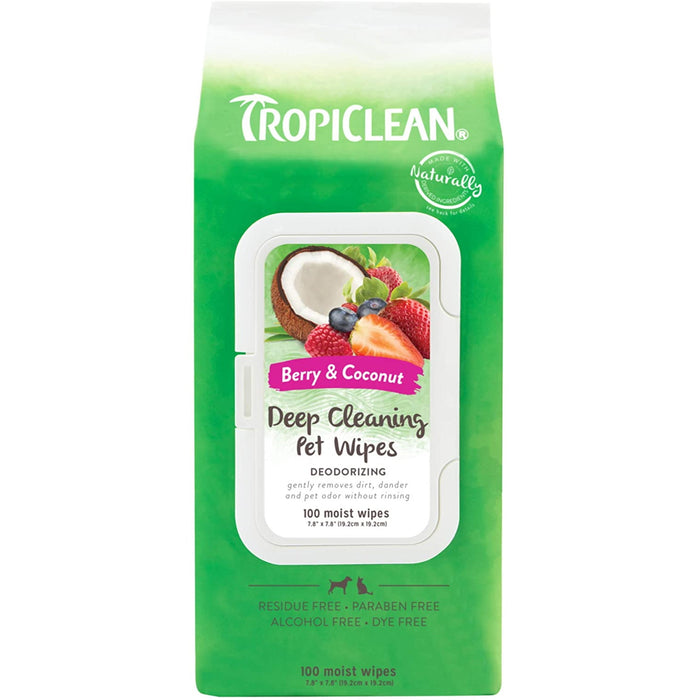 TropiClean Deep Cleaning Berry & Coconut Pet Wipes - Packet of 100 Moist Wipes