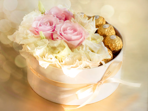 Box of White & Pink Roses with Ferrero Rocher chocolates.