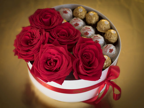 Box of Red Rose and Ferrero Rocher Candy