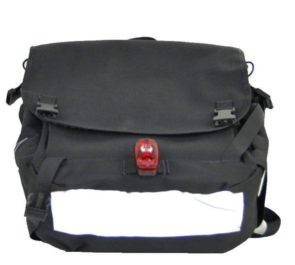 Black Flap Top Backpack With Silver Lining