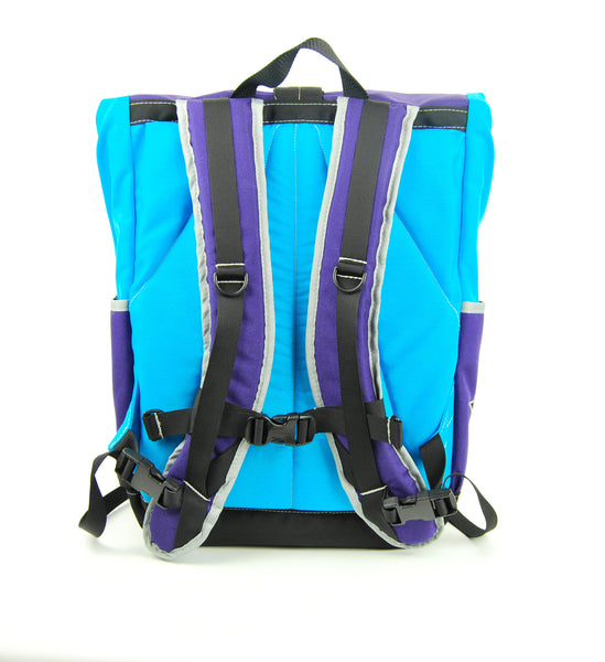 Turquoise and Purple Roll Top Backpack