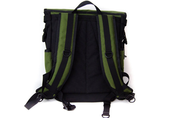 Olive and Black Flap Top Backpack