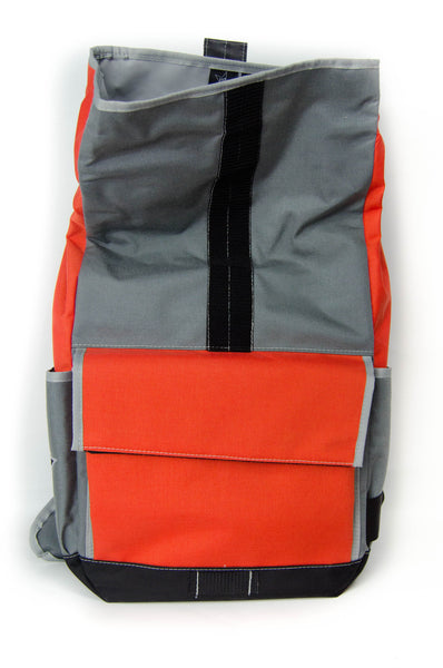 Orange and Smoke Roll Top Backpack
