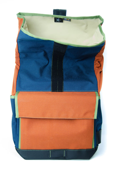 Rust and Navy Roll Top Backpack