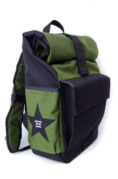 Olive and Black Roll Top Backpack