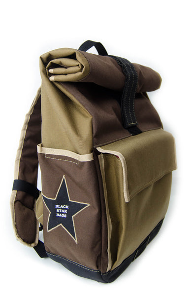Coyote and Brown Roll Top Backpack