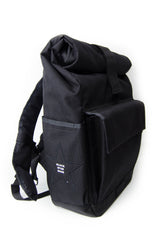 Black Roll Top Backpack With Silver Lining