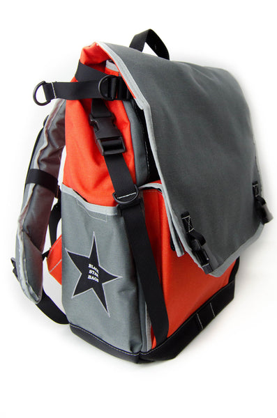 Orange and Smoke Flap Top Backpack