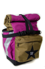 Coyote and Fuchsia Panniers