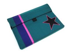 Padded case for iPad or MacBook in Teal with Stripes