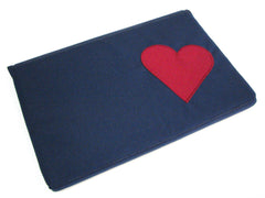 Padded Case for iPad or MacBook in Navy with Burgundy Heart