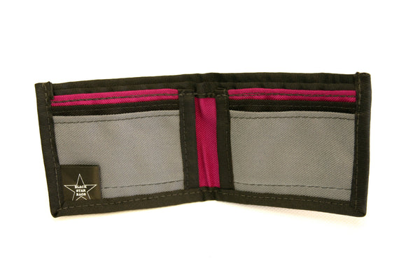 Black Wallet with Grey and Fuchsia card slots