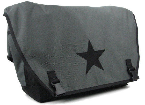 Smoke Grey and Black Waterproof Messenger Bag