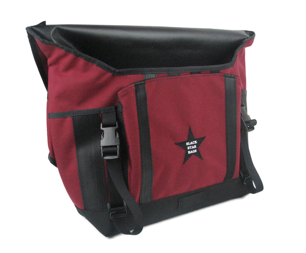 Burgundy and Black Waterproof Messenger Bag