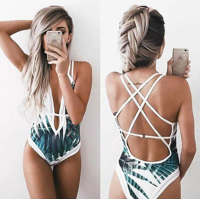 Backless Leaf Printed Swimsuit