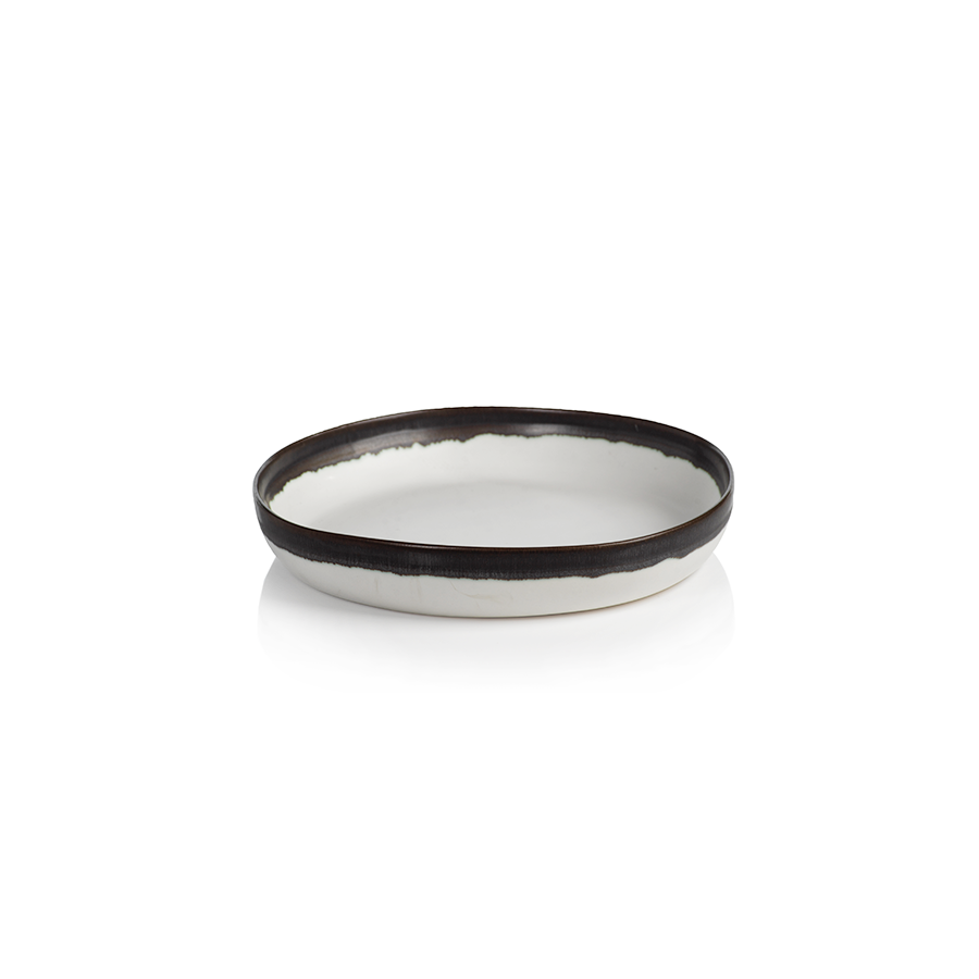 Terra White Shallow Bowl with Charcoal Black Rim