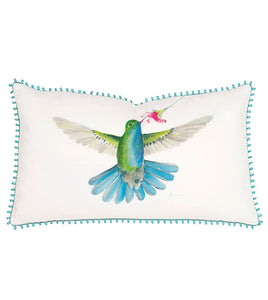 Hummingbird Hand-Painted Kidney Pillow