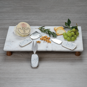 Marble Cheese Tray on Acacia Wood