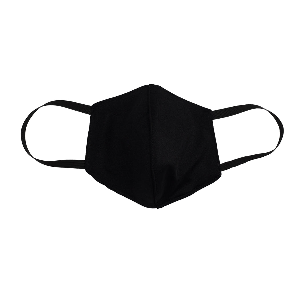 Jet Black 3 Layer Washable Face Mask with Filter