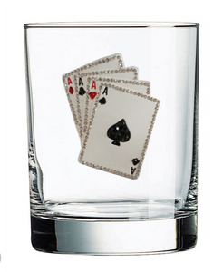 Poker Night Jeweled Glassware