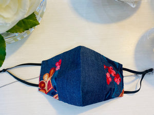 Blooming Garden Denim 3 Layer Washable Face Mask with Filter and Adjustable Earloops