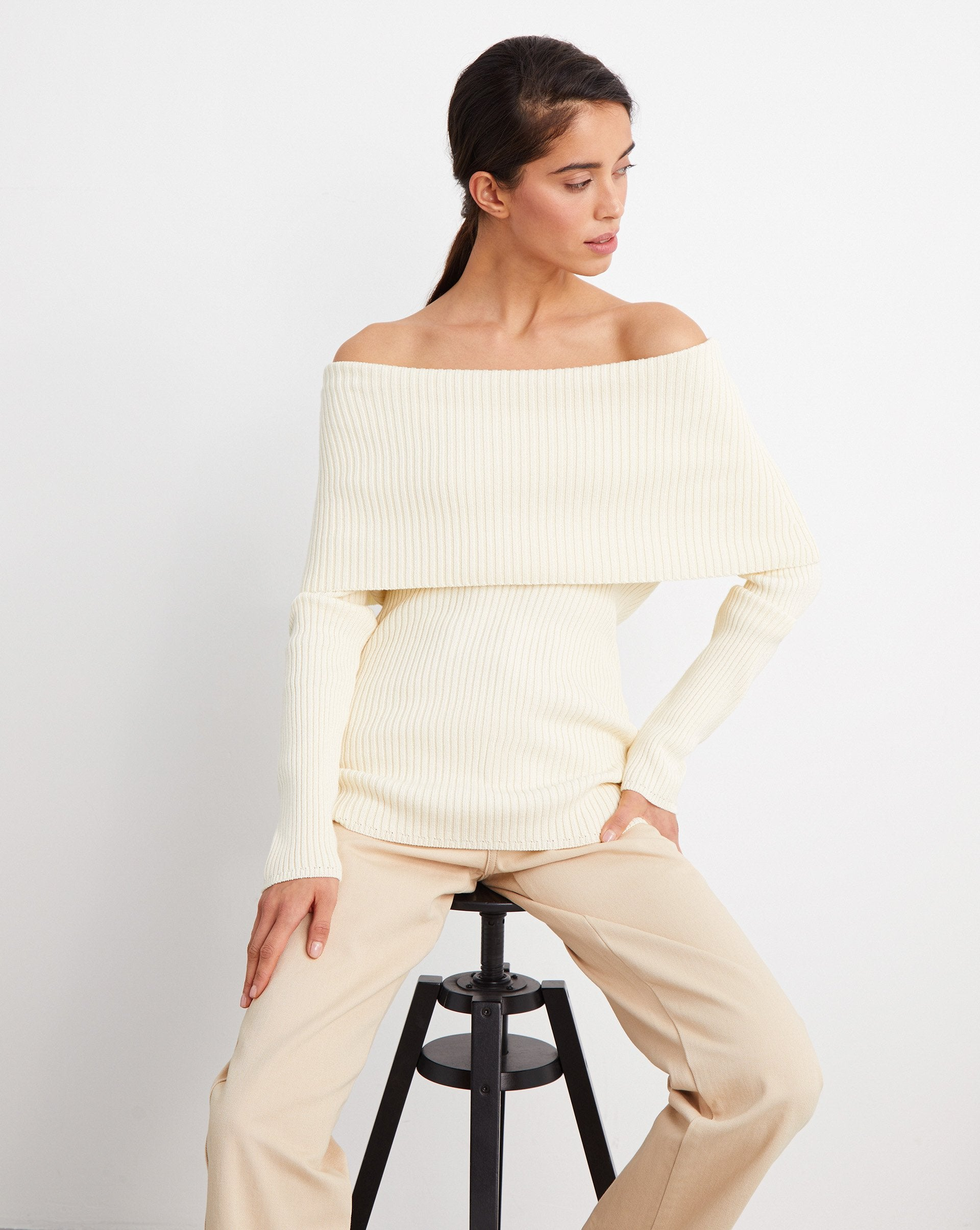 Off shoulder ribbed jumper - 12 STOREEZ