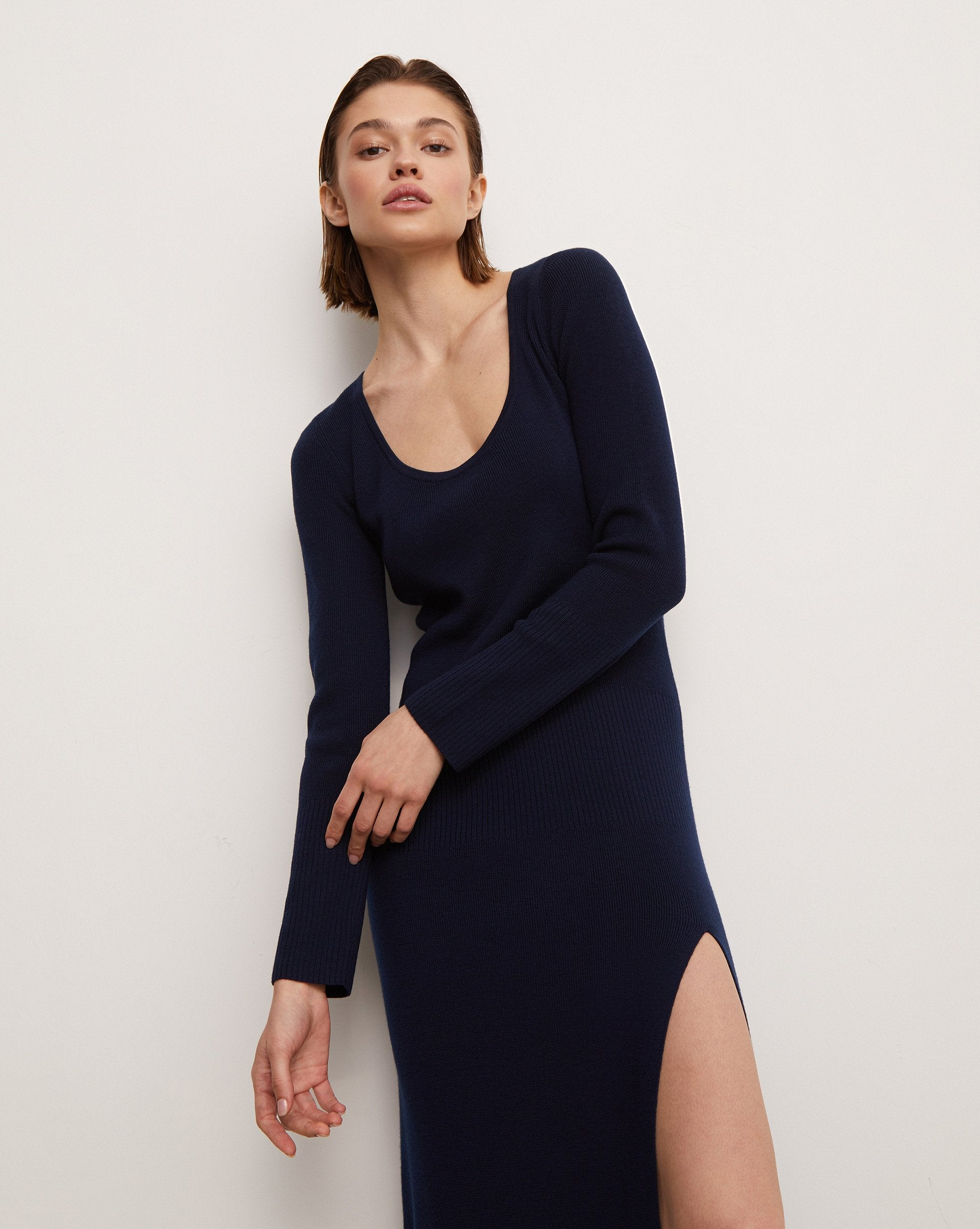 Merino wool side slit dress - 12 STOREEZ
