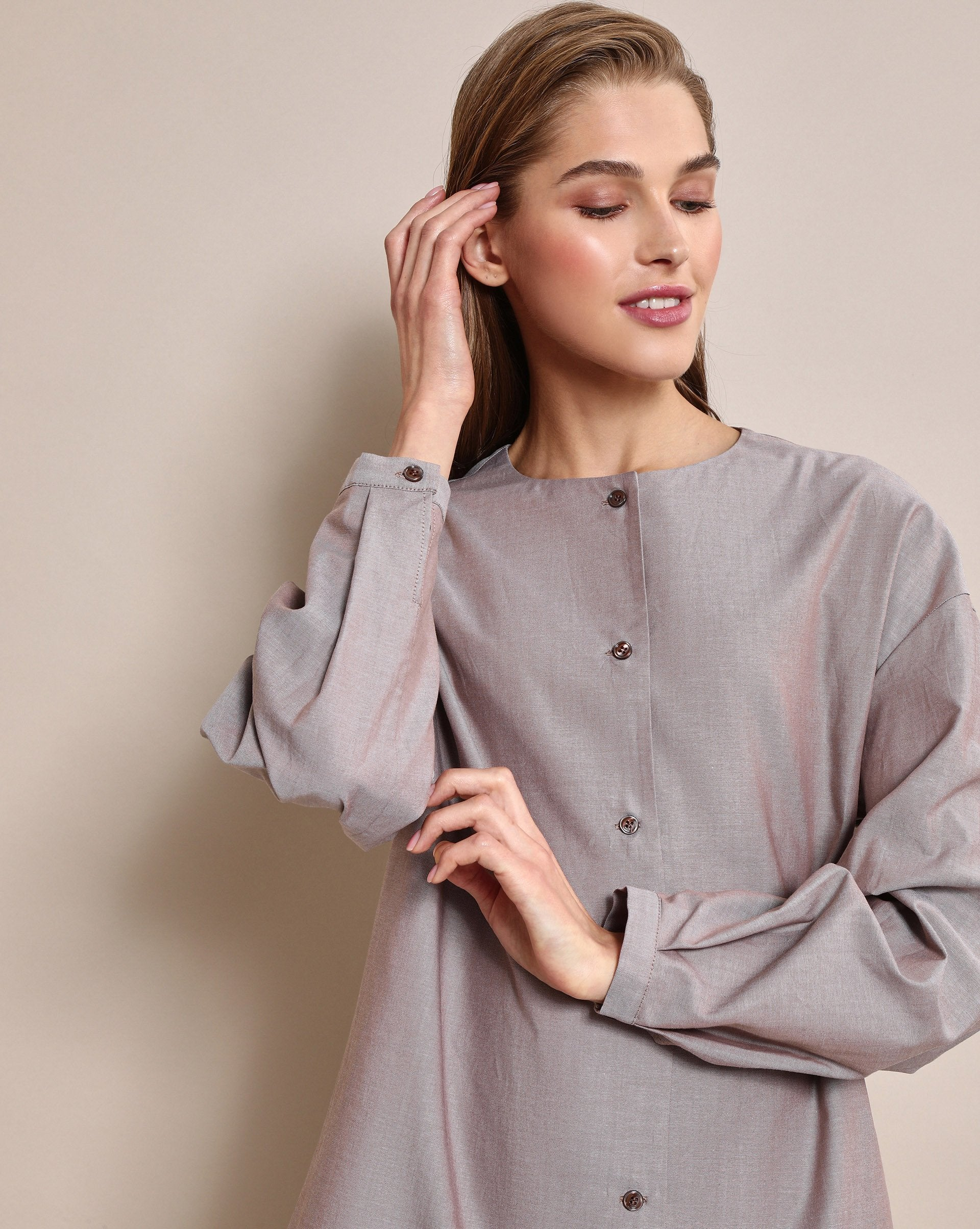 Collarless button up blouse - 12 STOREEZ