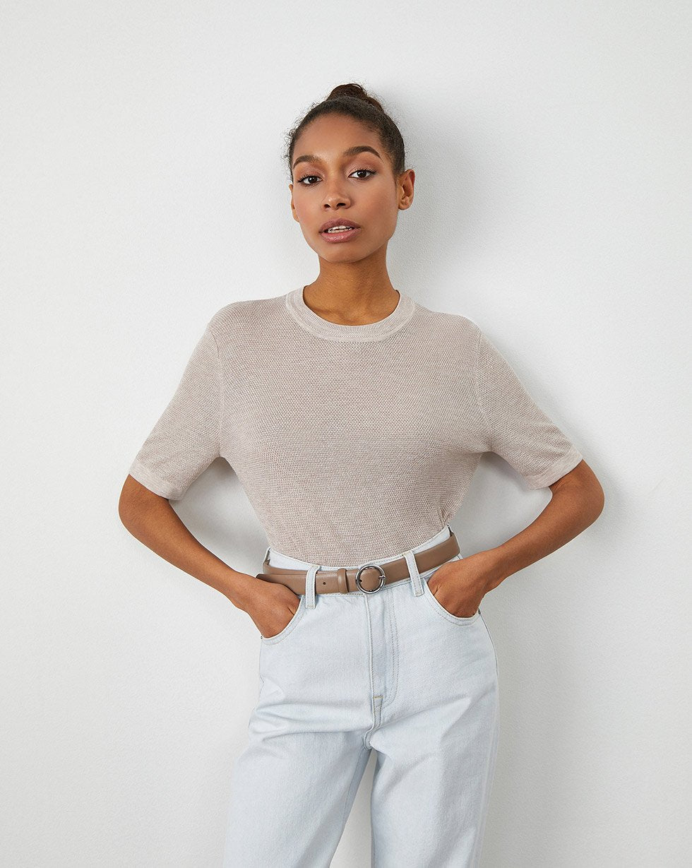 Textured short-sleeve top - 12 STOREEZ