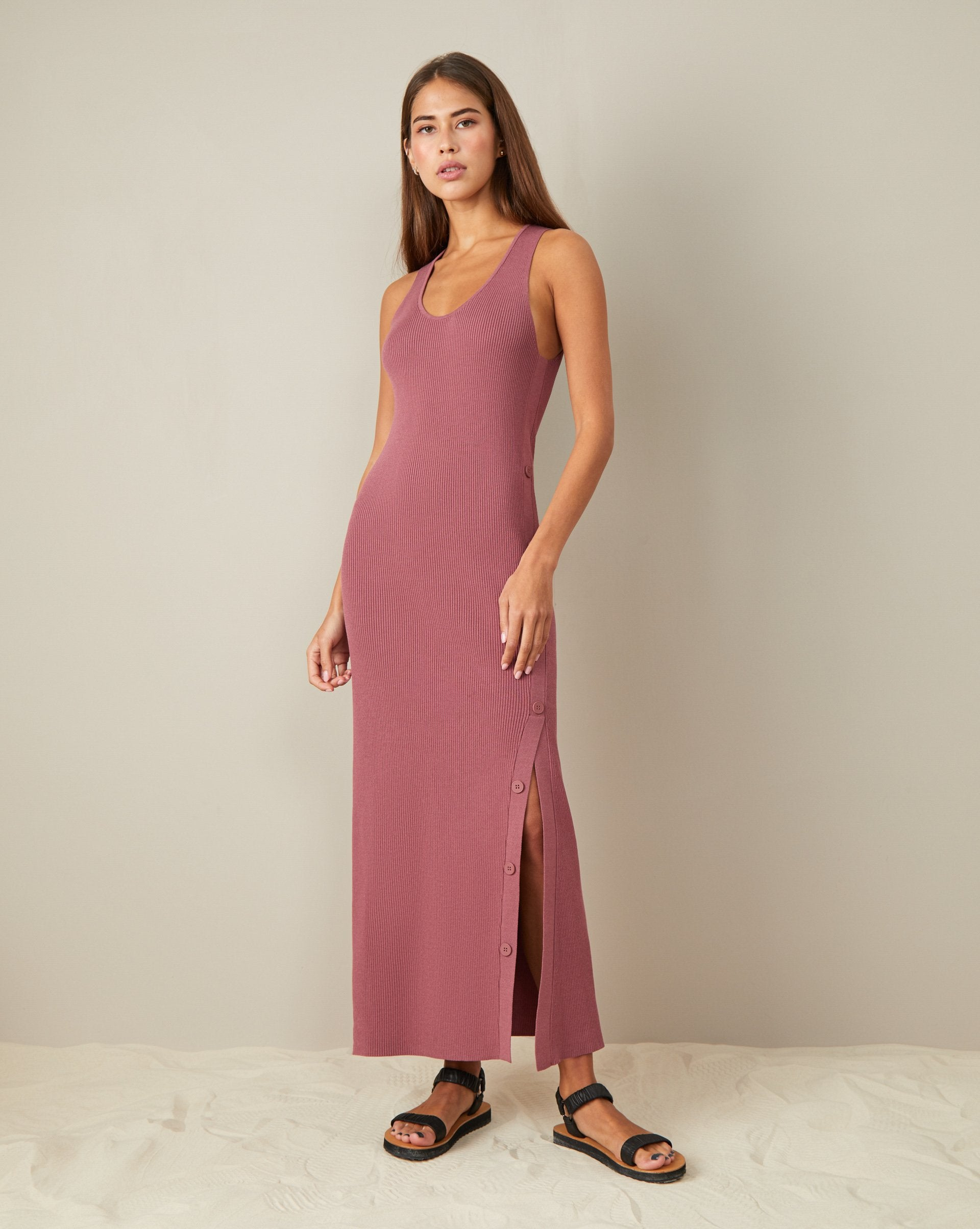 Knit side split dress - 12 STOREEZ