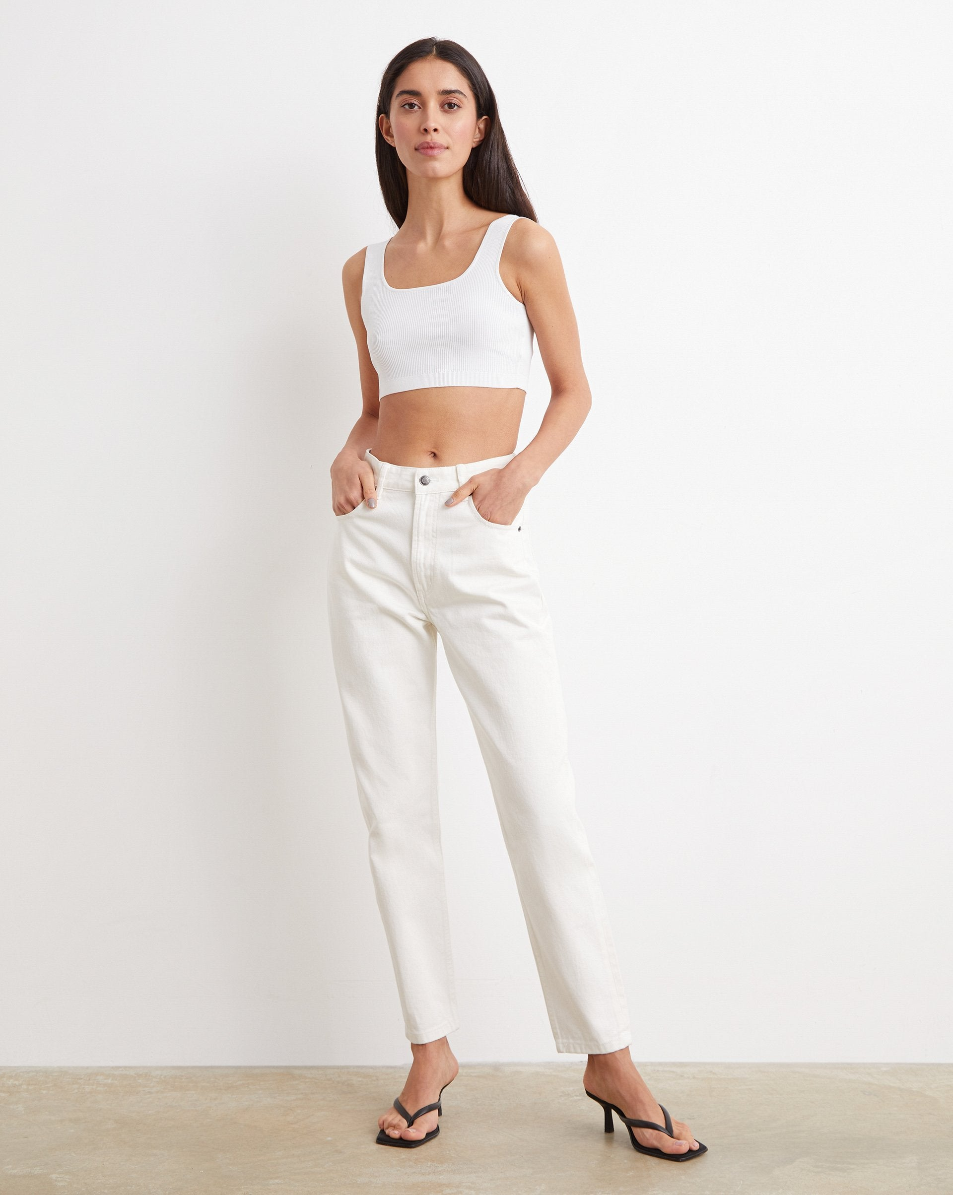 Ribbed knit cropped top - 12 STOREEZ