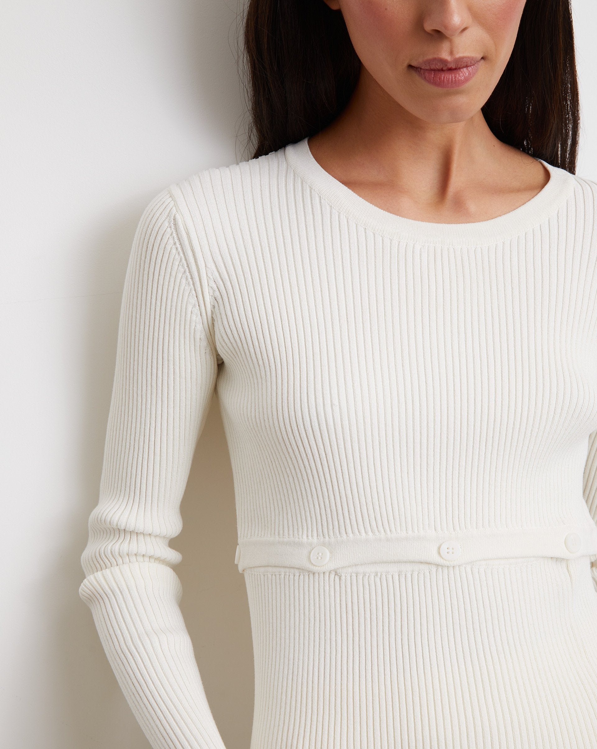 Button waist ribbed knit jumper - 12 STOREEZ