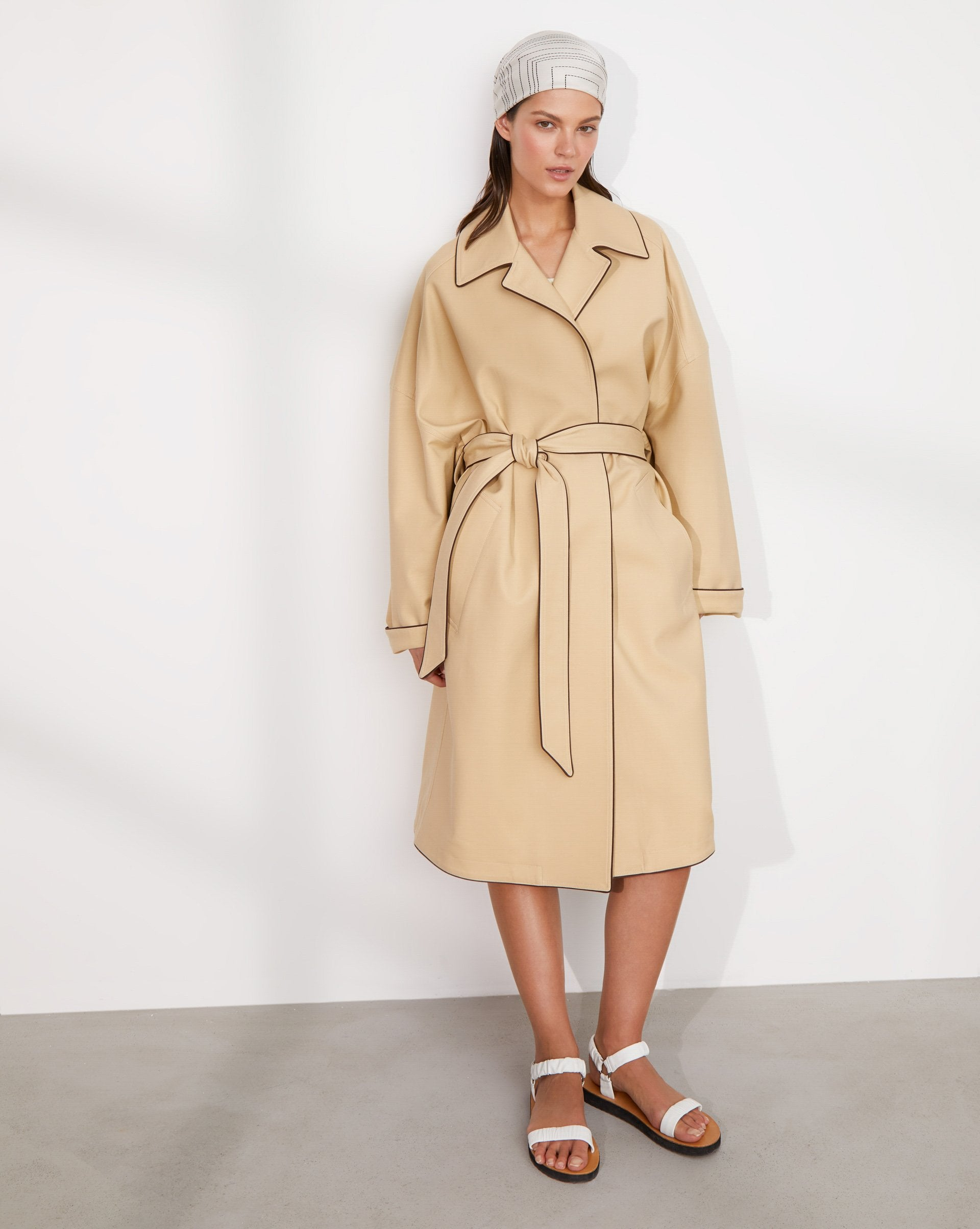 Contrast trim oversized trench coat - 12 STOREEZ