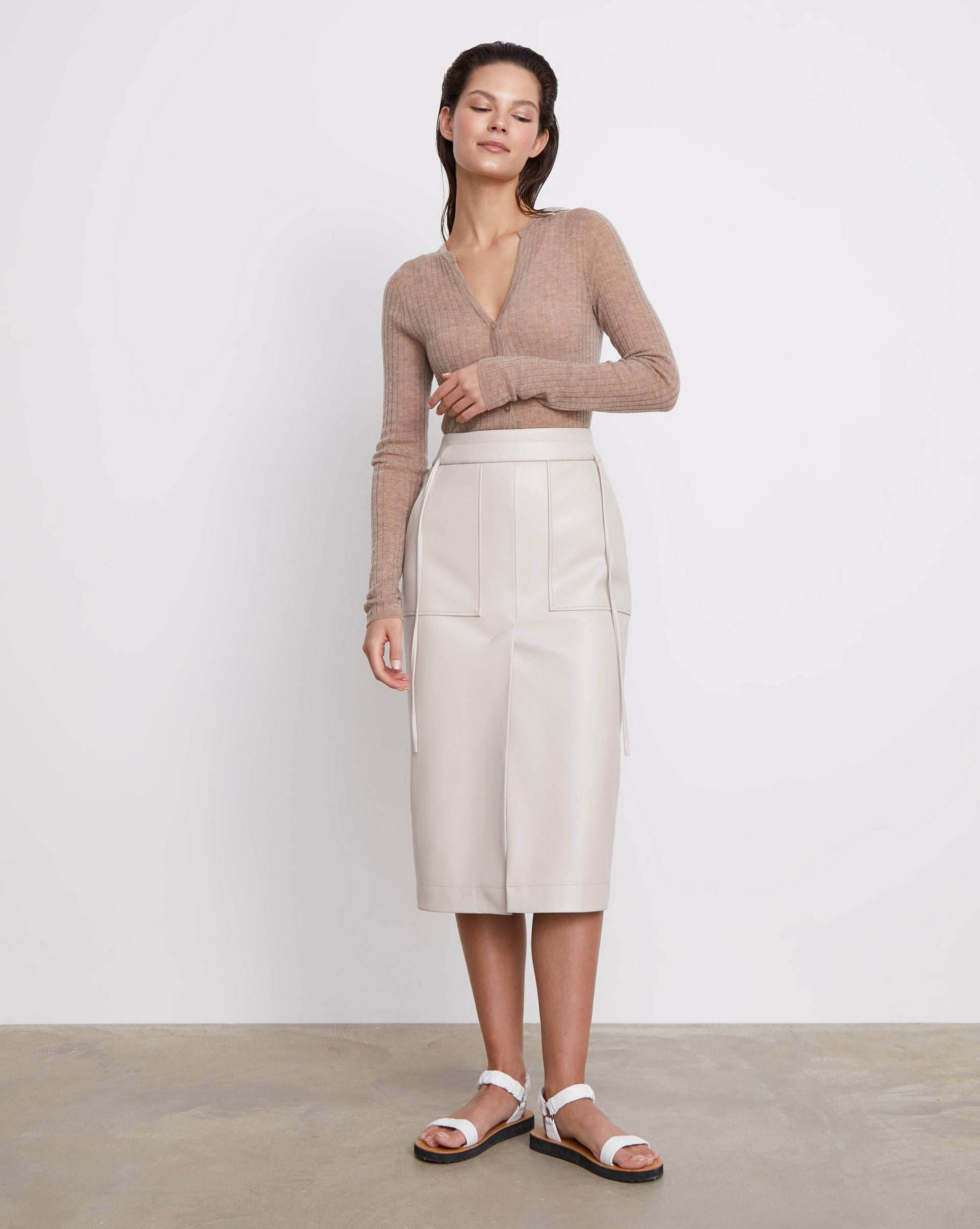 Faux-leather patch pocket midi skirt - 12 STOREEZ