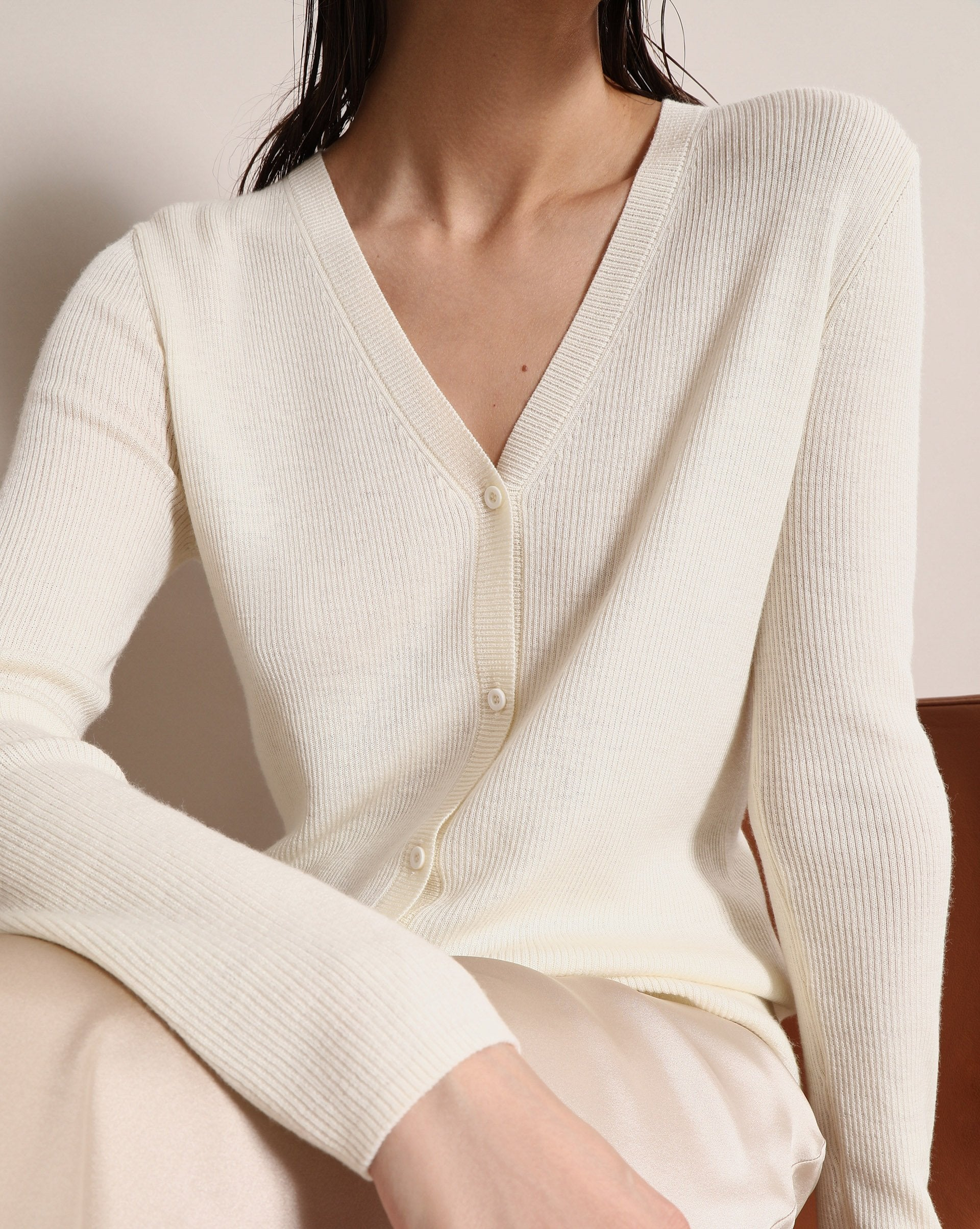 Ribbed merino wool cardigan - 12 STOREEZ