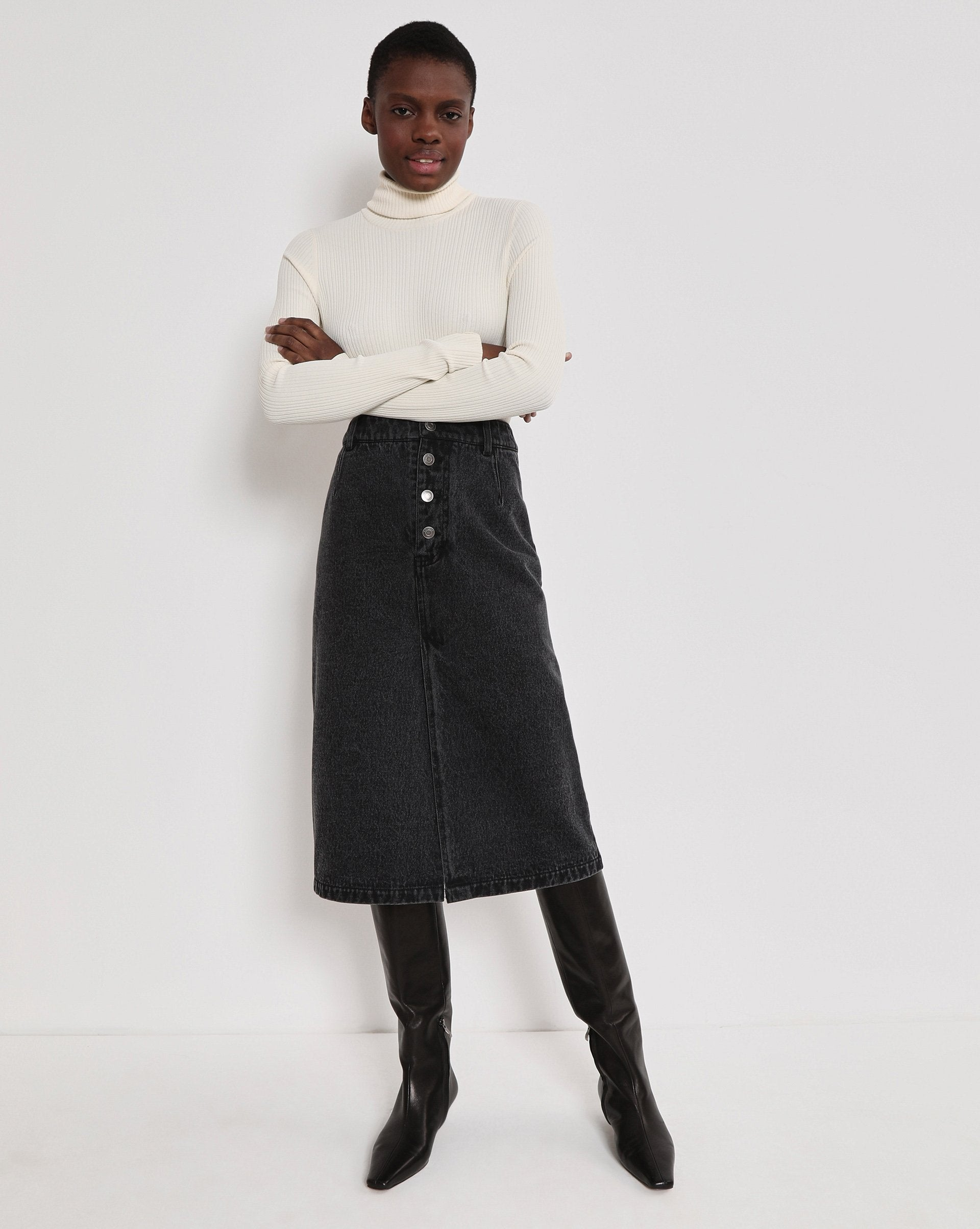Button fly denim midi skirt - 12 STOREEZ