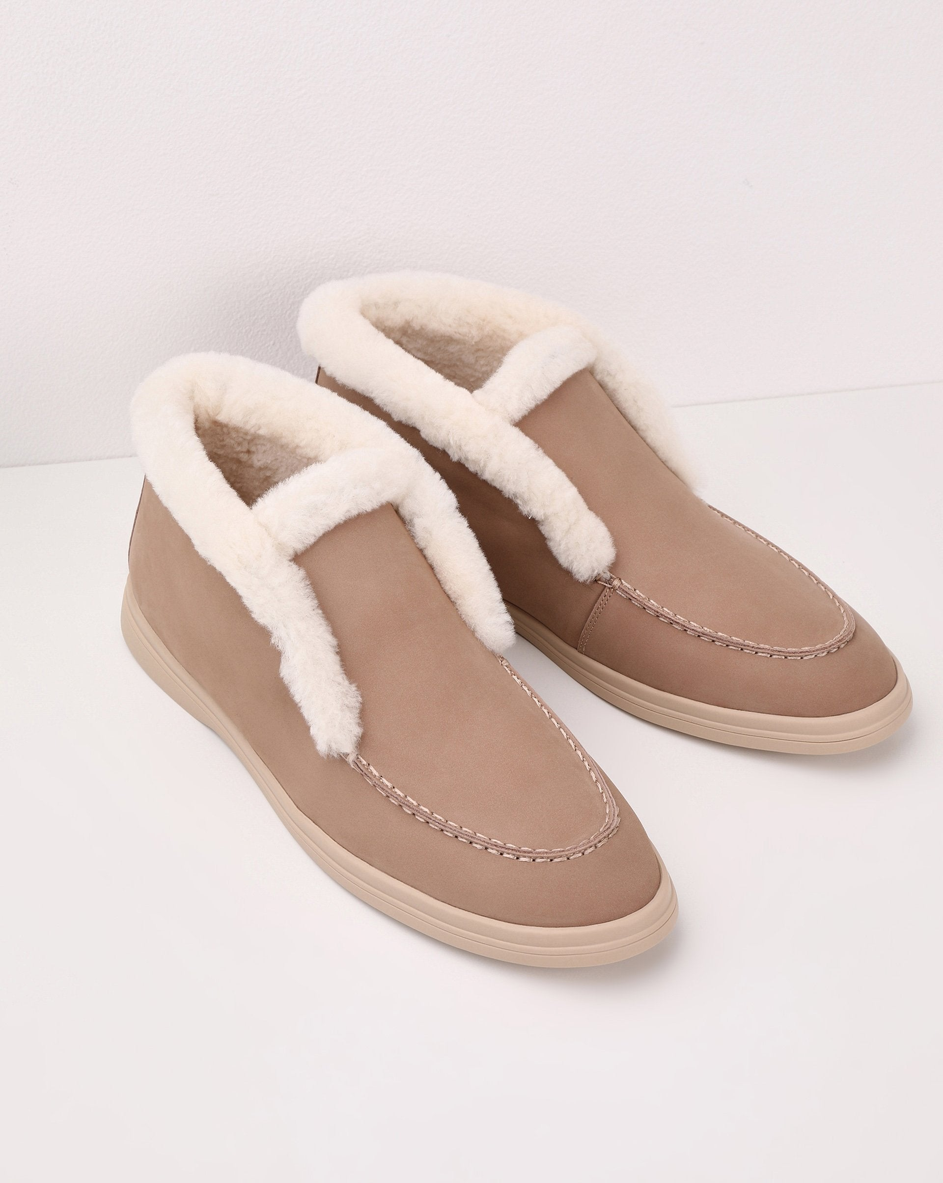 Shearling trim ankle boots - 12 STOREEZ