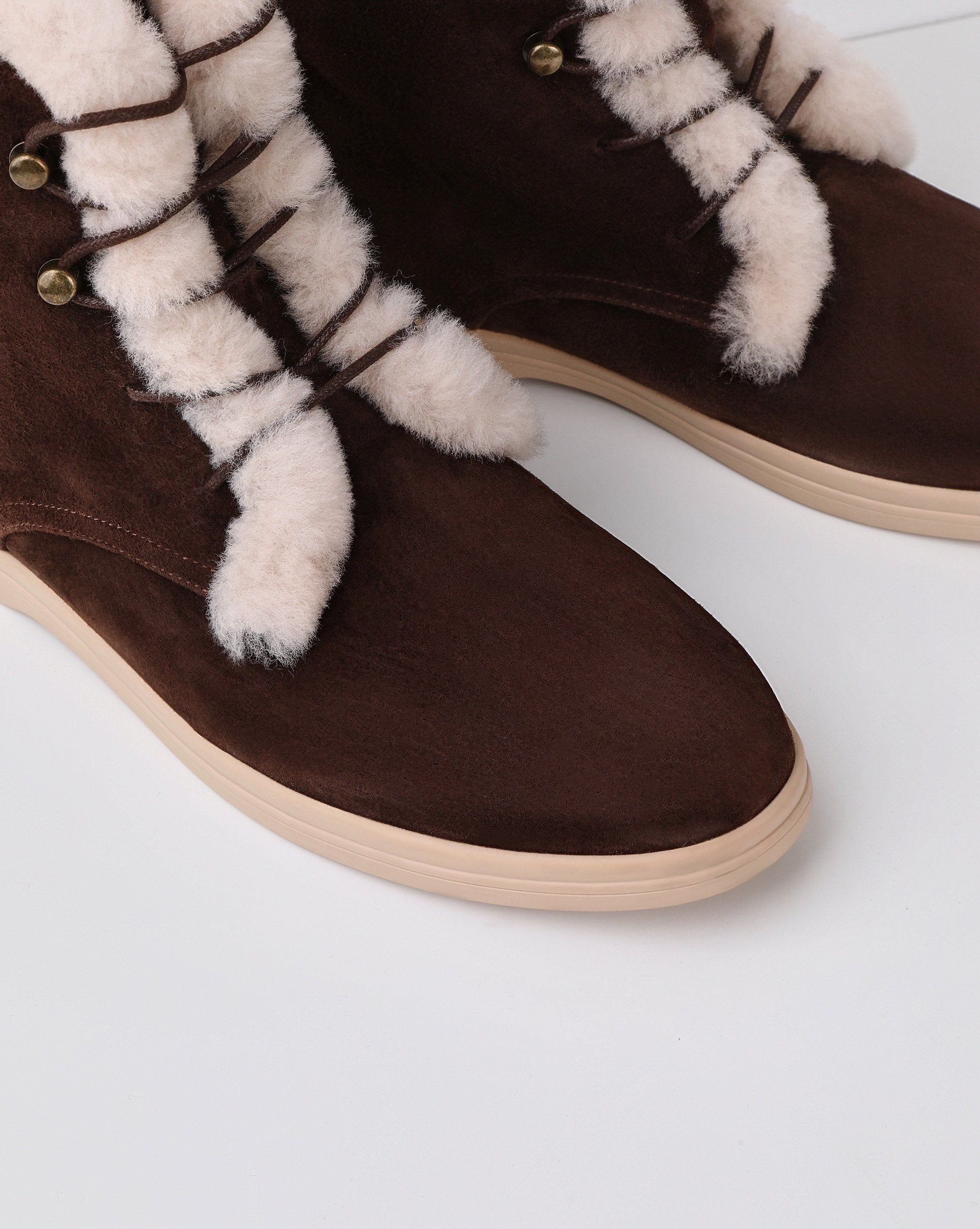Shearling trim lace up high ankle boots - 12 STOREEZ