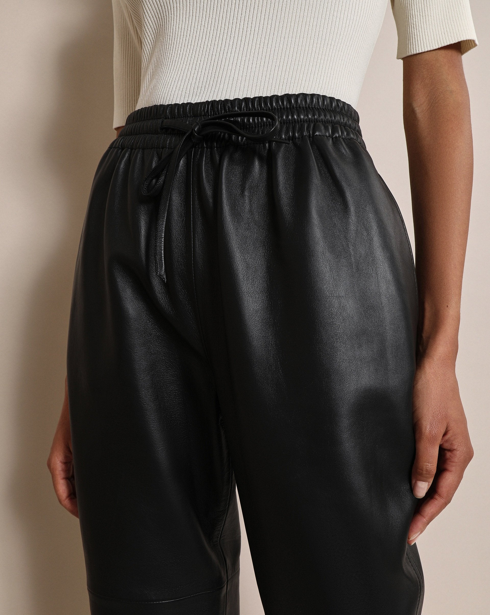 Drawstring leather trousers - 12 STOREEZ