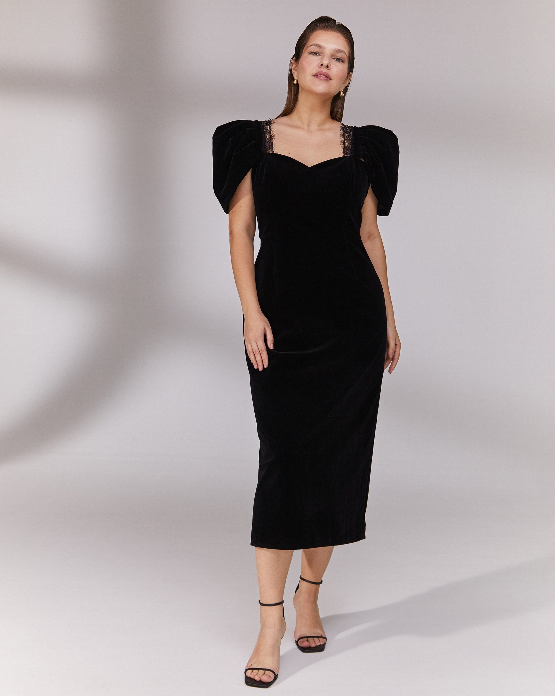 Puff sleeve velvet midi dress - 12 STOREEZ