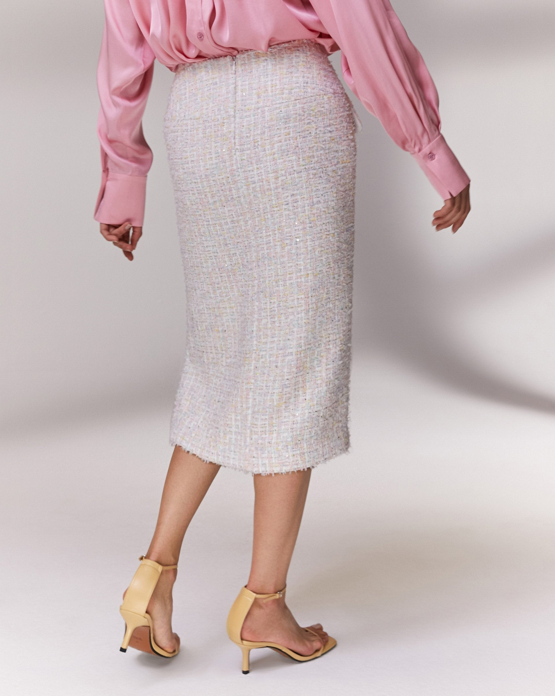 Lurex tweed side slit skirt - 12 STOREEZ