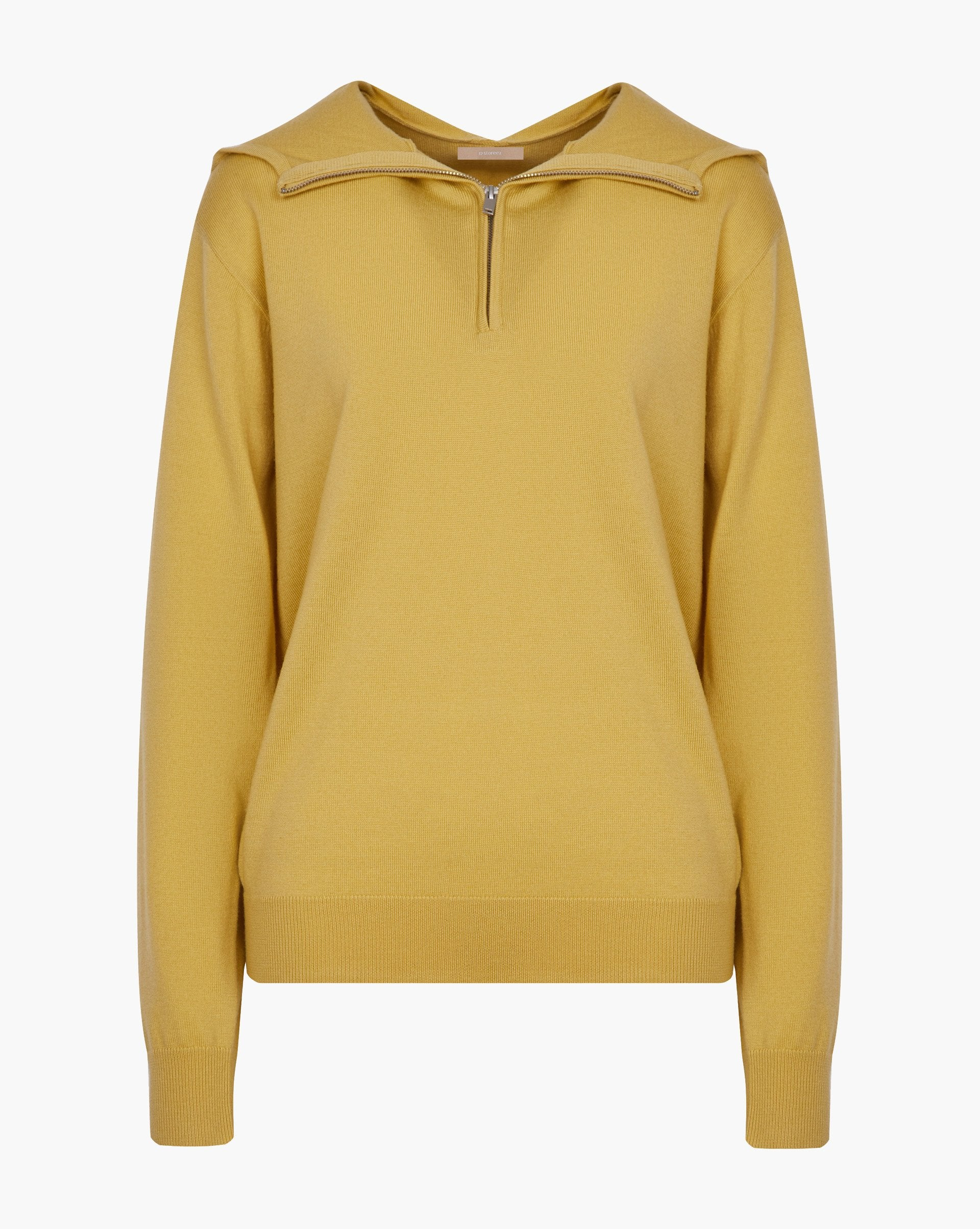 Half zip fine knit hooded sweatshirt - 12 STOREEZ