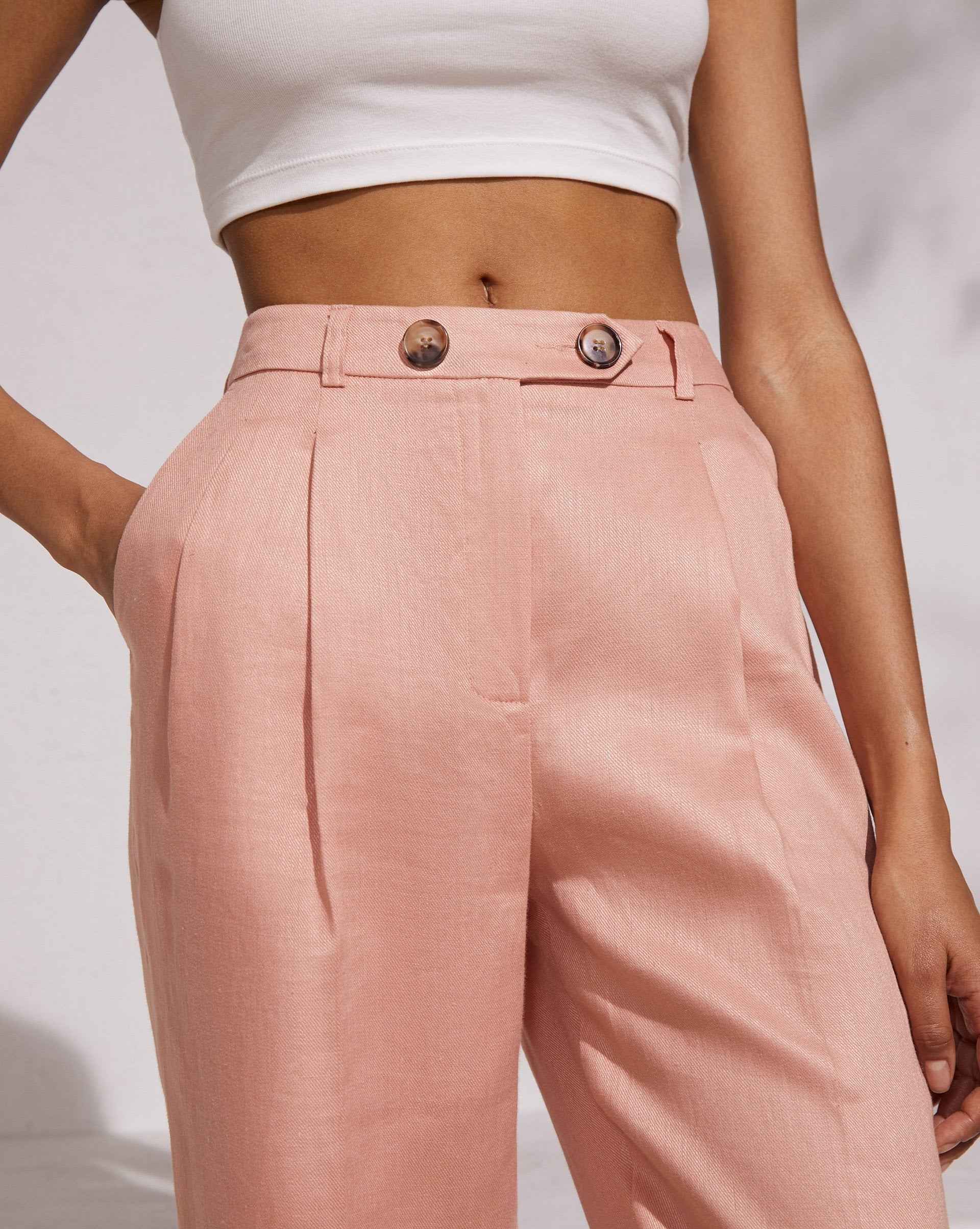 Straight leg pleated linen trousers - 12 STOREEZ
