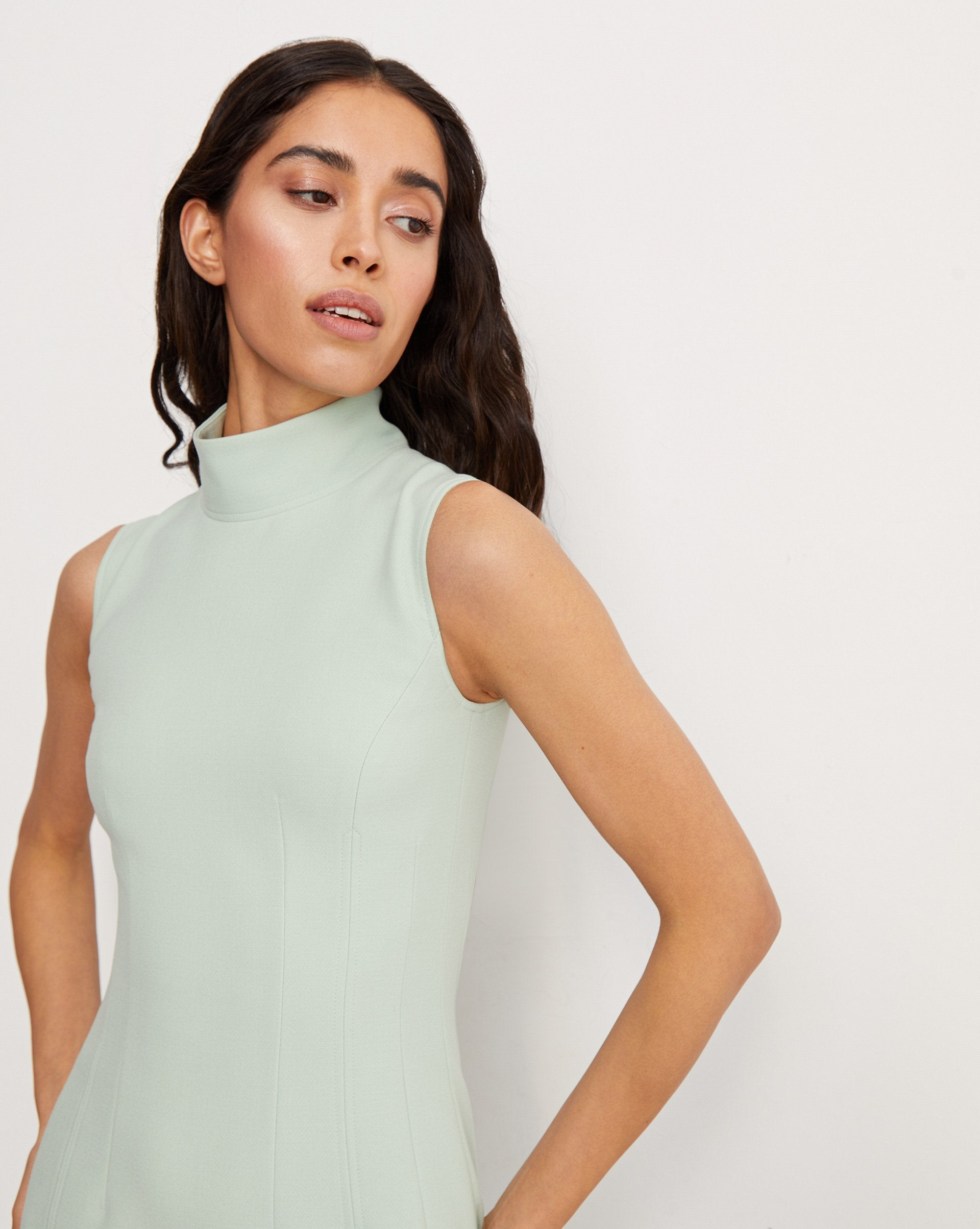 Mock neck side slit midi dress - 12 STOREEZ