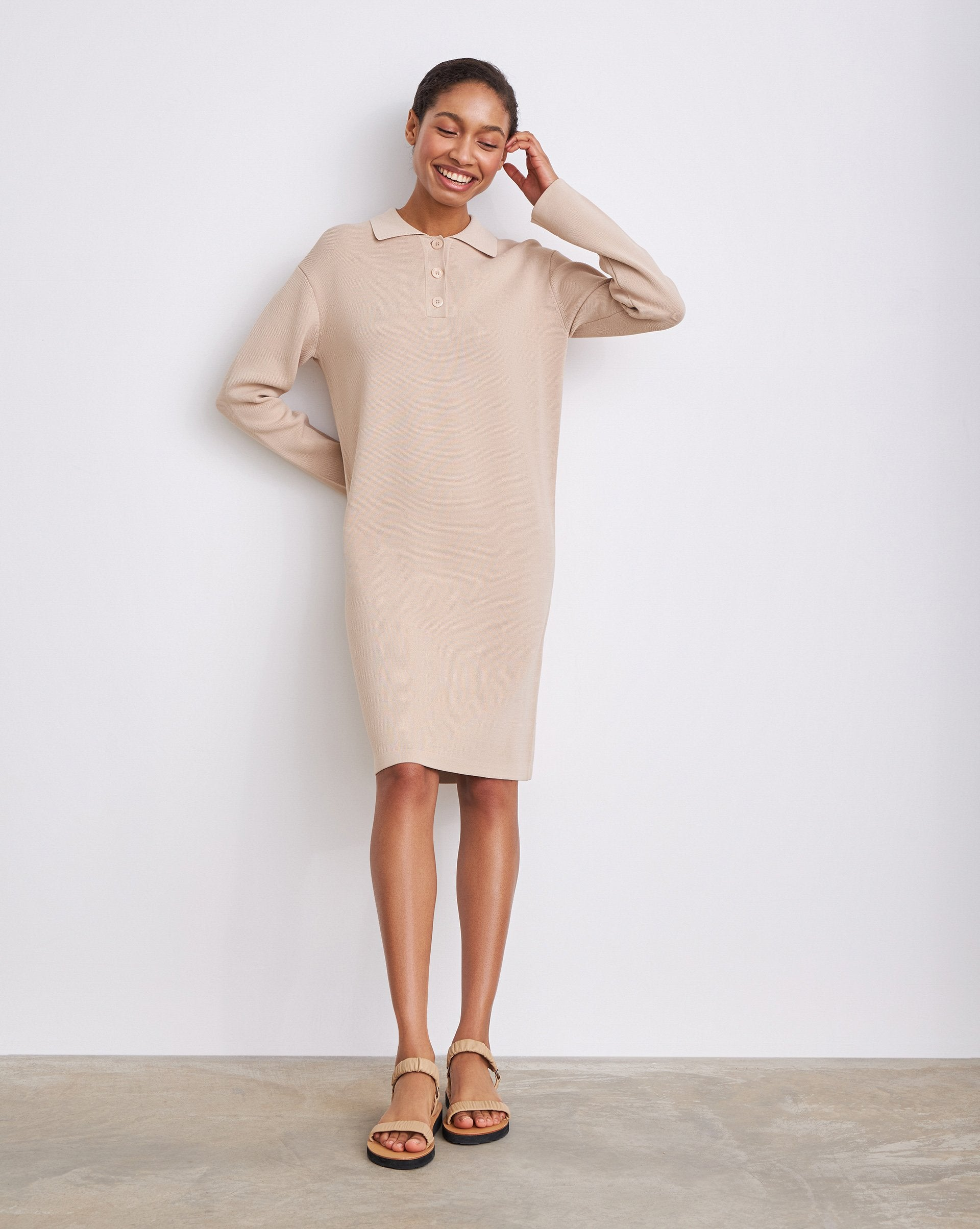 Oversized textured knit polo dress - 12 STOREEZ