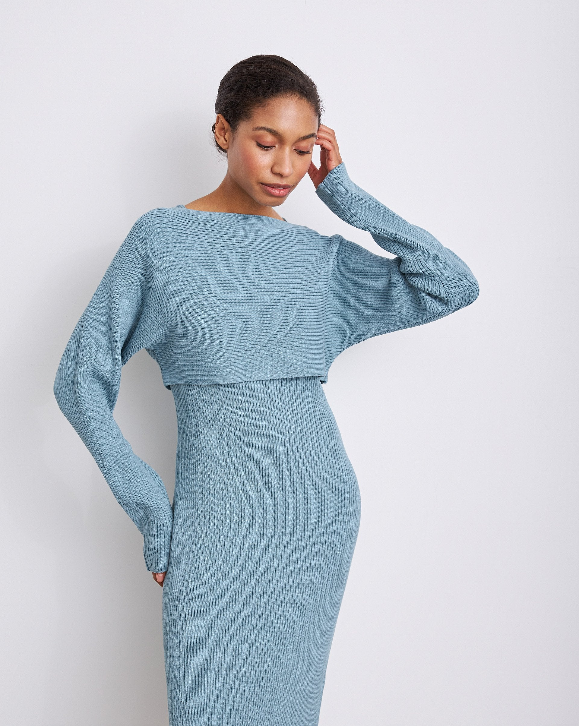 Ribbed knit dress and cropped jumper set - 12 STOREEZ