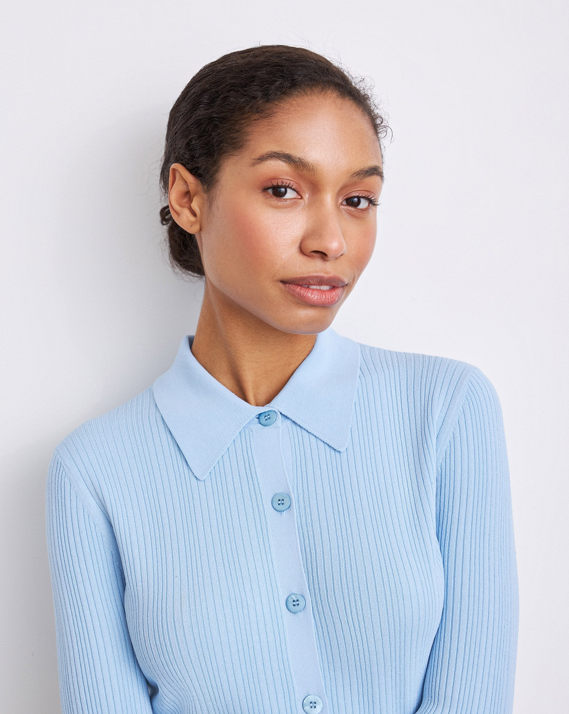 Ribbed knit button up shirt - 12 STOREEZ