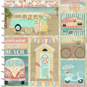 Beach Travel - Patch - 17338 - Cotton Fabric - Beachside Knits N Quilts