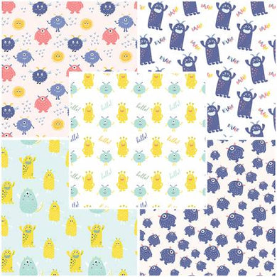 Cute Little Monsters by Craft Cotton Collection - Fat Quarter Bundle - Beachside Knits N Quilts