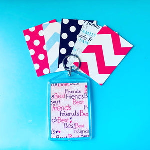 "Personalized Rectangle Key Chain - Pink ""Best Friends"" w Initial"